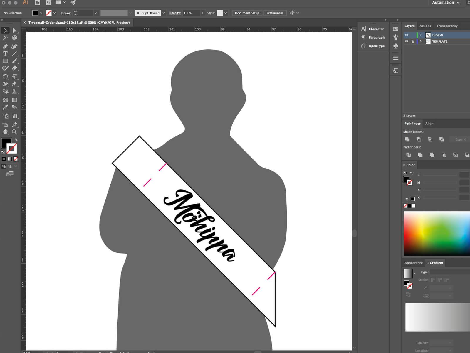 Ordensband under design i illustrator
